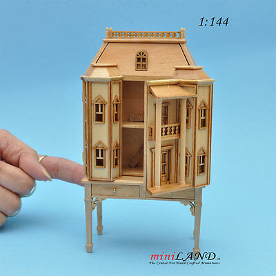 Georgian DOLLHOUSE FOR DOLLHOUSE WITH TABLE Pine (1:144) wood Top quality