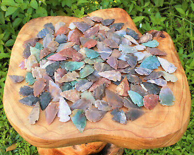 Set Of 100 Indian Arrowheads Agate New Replica (Agate Natural) Spearhead Bow