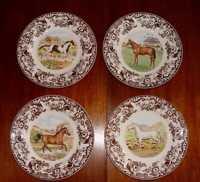 Set of 4~Spode~Woodland~Dinner Plates~Horses~New~All Different~With tags
