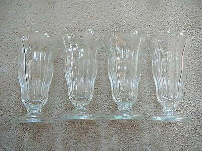 SET of FOUR - VINTAGE HEAVY CLEAR GLASS DRUG STORE SODA FOUNTAIN GLASSES - 6.75""