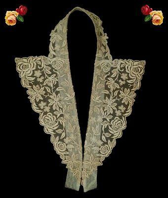 Vintage Victorian Embroidered Net Lace Collar Floral Roses Scallop Ecru Cotton