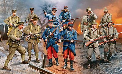 WWI German, French, British Infantry Set 1/35 scale Revell model kit#2451