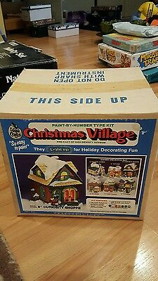 Vtg NIB WEE CRAFTS PAINT BY NUMBERS  CHRISTMAS VILLAGE CURIOSITY SHOP LIGHTED