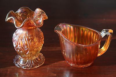 2 x Small Carnival Glass Pieces - Cream Jug and Vase