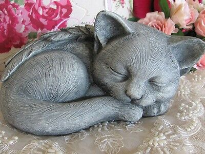 Home Outdoors Sleeping Angel Wings Cat Kitten Garden Ornament Door Stop Memorial