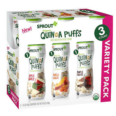 New Sprout Stage 1 Organic Quinoa Puffs Variety Baby Snack 1.5 Ounce - 3 Pack