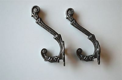 A pair small antique folliage double coathook cast iron hanging coat hook ALR13