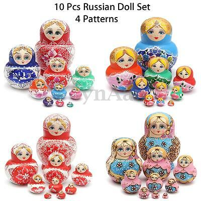 10Pz Set Legno Matriosca Russa Matrioska Matriosche Babooshka Bambole Regalo