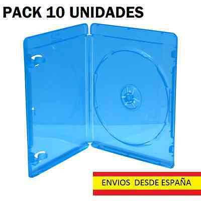 PACK 10 CAJAS ó ESTUCHES BLURAY - 1 DISCO - 11 mm - MEDIARANGE - AZUL TRANSP.