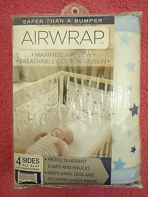 baby boys cot bumper air wrap - 4 sides - new in packet