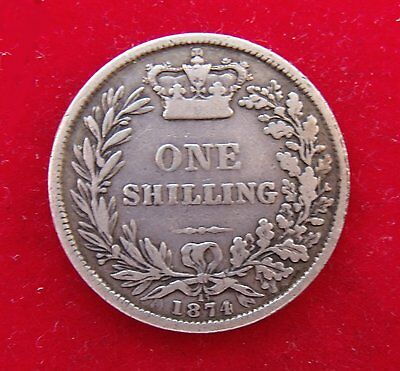 1874 Victoria silver Shilling scarce coin good clear Die 15 condition