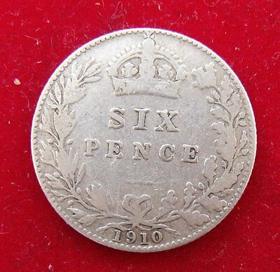 1910 Edward VII .925 Silver British Sixpence Penny 6d Coin