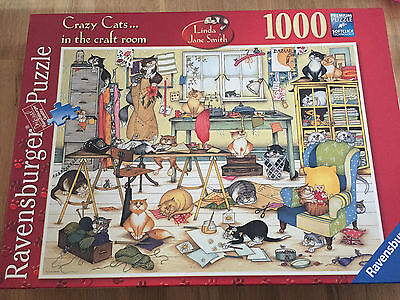 1000 Piece CRAZY CATS IN THE CRAFT ROOM Linda Jane Smith Jigsaw Puzzle Ravensbur