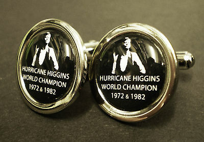 Alex Hurricane Higgin's Chrome Plated Cufflinks.  World Champion Snooker Player.