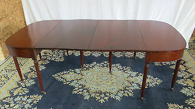Mid 19th Century Sheraton Mahogany Banquet Table Pair Demilunes