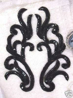 """0170 ~ Black Mirror Pair Sequin Beaded Appliques 9"""" Craft Sewing Motifs @ Glorys"""