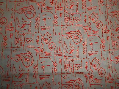Vintage 1950's Light Cotton Dress Making Fabric Fawn Pink Abstract Design