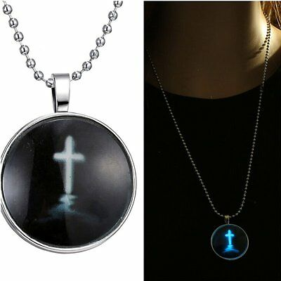 Sacred Jesus Cross Stainless Steel Chain Glow In The Dark Pendant Necklace Gift