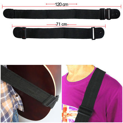 Black Adjustable Firm Nylon Neck Strap Acoustic Electric Classic Guitar Bass