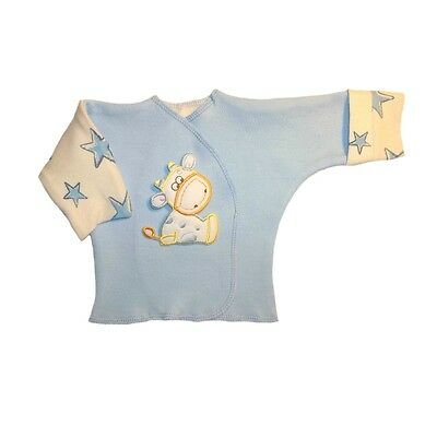 Baby Boy Cow and Stars Blue Long Sleeve Shirt - 4 Preemie and Newborn Sizes!