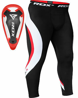 RDX Men's Sport Compression Pants & Groin Cup Running Tight Exercise MMA Boxing