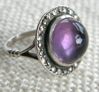Lovely Vintage AMETHYST ring set with Marcasites SILVER