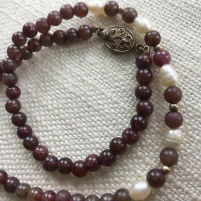 Vintage CHINESE hardstone beads necklace Freshwater pearls SILVER filigree clasp