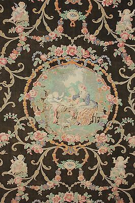 19th century Black antique Fabric toile material jewel tones old Rococo design ~
