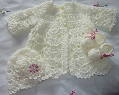Ivory Hand Made Crochet Matinee Set Reborn/baby 0-3 Months New
