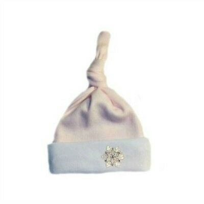 Pink Snowflake Baby Girl Knotted Hat 6 Preemie, Newborn Infant and Toddler Sizes