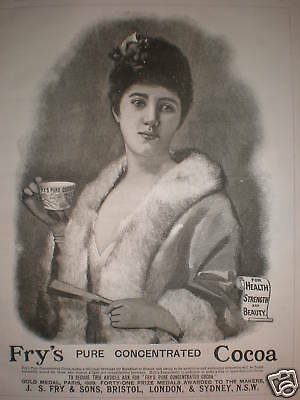 Fry's Cocoa art lady advert 1890
