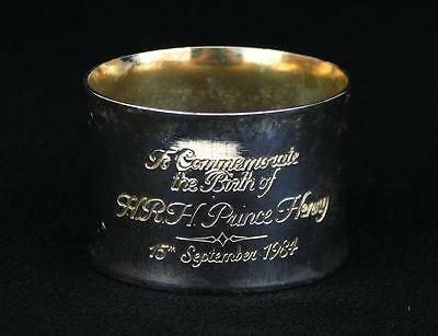 1984 Silverplated Napkin Ring Birth Prince Henry Harry British Royal Memorabilia