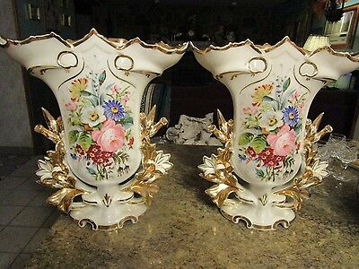 """Vintage pair of porcelain urns vases with painted floral center panel 12"""" HYMLOT"""