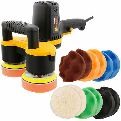 "4"" Dual Head Random Orbit Dual-Action Polisher, Waffle Foam Polishing 12 Pad Kit"