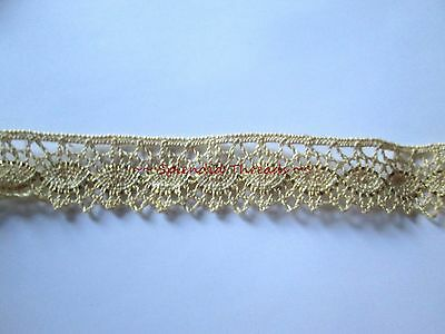 "Vintage Ecru Cotton Lace Gold Metallic Scalloped Edge 3/4"" wide 2 yd C13"