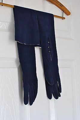 Original FRENCH 1930s royal blue kid leather suede opera long length gloves