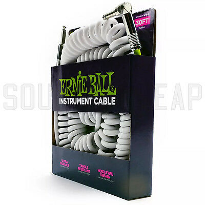Ernie Ball 6044 White Coiled 30' ft Guitar Coil Cable - Straight / Right Angled