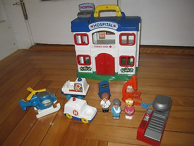 Vintage Red Box Hospital Doll House Play Set with Furniture Ambulance Helicopter
