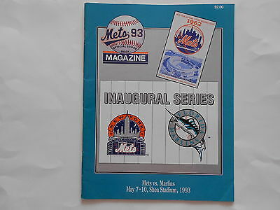NEW YORK METS Official Programme & Scorecard FLORIDA MARLINS 7th - !0th May 1993