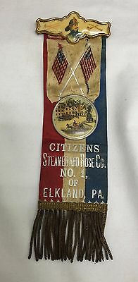 Antique 1892 Firemen Ribbon Picture Celluloid Badge Pin Horse Steam Fire Truck