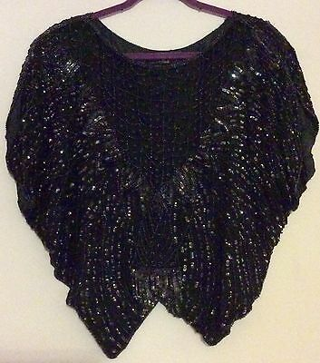 vintage 80s black silk sequin & bead butterfly cape top 8 10 12 Deco Hollywood