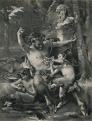 Rare Antique Old c19th Art Print Nude Man Satyr Faun Pan Piper Dance God Bacchus