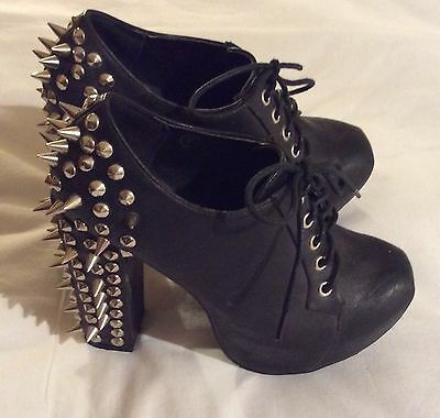 Ladies BEBO black Spike Stud Lace Up Platform Shoes high block heels Size 37 / 4