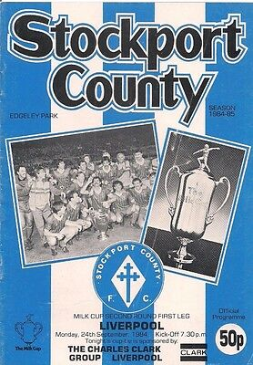 84/85 STOCKPORT COUNTY v. LIVERPOOL - Milk Cup.