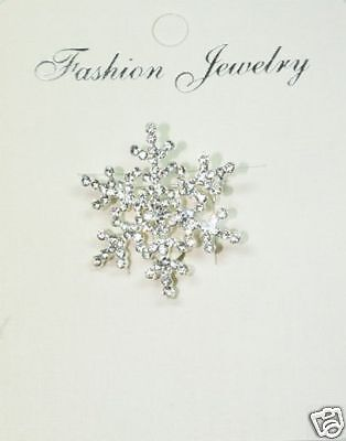 SMALL SNOWFLAKE PIN silvertone with Swarovski Crystals  ~ New