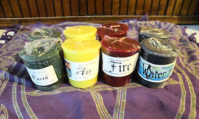 Earth Air Fire Water Votvies NEW Set of 8 Magic Wicca