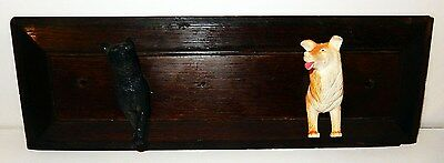 Antique English Oak Panel Wall Rack with Dog & Cat Figural Hooks England