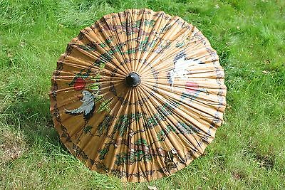Original antique / vintage 1920s paper hand painted parasol umbrella