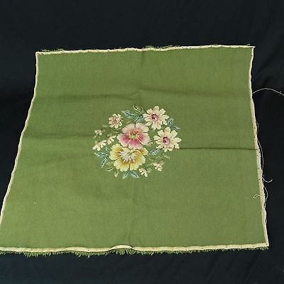 VTG Green Floral Needlepoint Seat Fabric Cushion Cover