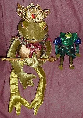 "Lot/2 FROG PRINCES: 24"" w GOLD CROWN, CAPE & SCEPTER & 9 1/2"" w/o Crown"